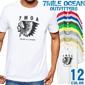 7MILE OCEAN Tシャツ メンズ 半袖 カットソー アメカジ インディアン ネイティブ USA ウエスタン 人気ブランド アウトドア ストリート 大き目 大きいサイズ ビックサイズ対応 12色