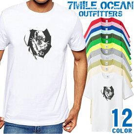 7MILE OCEAN Tシャツ メンズ 半袖 カットソー アメカジ だまし絵 おもしろ LA 人気ブランド アウトドア ストリート 大き目 大きいサイズ ビックサイズ対応 12色