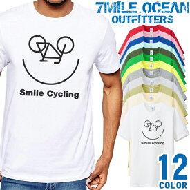 7MILE OCEAN Tシャツ メンズ 半袖 カットソー アメカジ 自転車 サイクリング ポタリング スマイル 笑顔 人気ブランド アウトドア ストリート 大き目 大きいサイズ ビックサイズ対応 12色