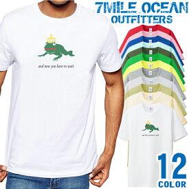7MILE OCEAN Tシャツ メンズ 半袖 カットソー アメカジ カエル 蛙 絵本 童話 王子様 王冠 人気ブランド アウトドア ストリート 大き目 大きいサイズ ビックサイズ対応 12色