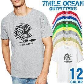 7MILE OCEAN Tシャツ メンズ 半袖 カットソー アメカジ ウエスタン ネイティブ インディアン 人気ブランド アウトドア ストリート 大き目 大きいサイズ ビックサイズ対応 12色