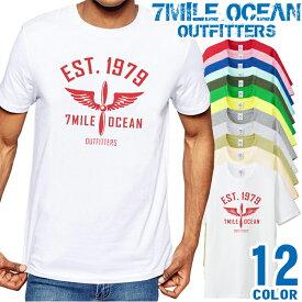 7MILE OCEAN Tシャツ メンズ 半袖 カットソー アメカジ ロゴ メッセージ 定番 人気ブランド アウトドア ストリート 大き目 大きいサイズ ビックサイズ対応 12色