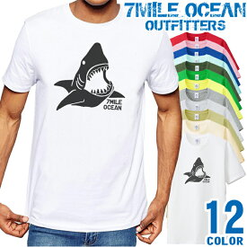 7MILE OCEAN Tシャツ メンズ 半袖 カットソー アメカジ サメ シャーク 鮫 おもしろ アウトドア 人気ブランド アウトドア ストリート 大き目 大きいサイズ ビックサイズ対応 12色
