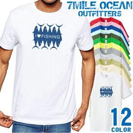 7MILE OCEAN Tシャツ メンズ 半袖 カットソー アメカジ 釣り フィッシング 魚 アウトドア 人気ブランド アウトドア ストリート 大き目 大きいサイズ ビックサイズ対応 12色