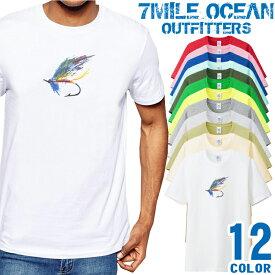 7MILE OCEAN Tシャツ メンズ 半袖 カットソー アメカジ フライ 釣り フィッシング アウトドア 人気ブランド アウトドア ストリート 大き目 大きいサイズ ビックサイズ対応 12色