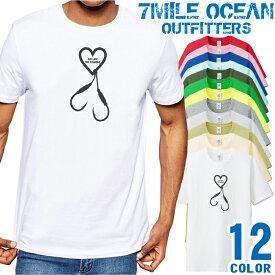 7MILE OCEAN Tシャツ メンズ 半袖 カットソー アメカジ 釣り フィッシング ハート 人気ブランド アウトドア ストリート 大き目 大きいサイズ ビックサイズ対応 12色