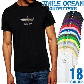 7MILE OCEAN Tシャツ メンズ 半袖 カットソー アメカジ シャーク サメ 鮫 ブラックチップ ツマグロ メジロザメ ダイビング 人気ブランド アウトドア ストリート 大き目 大きいサイズ ビックサイズ対応 18色