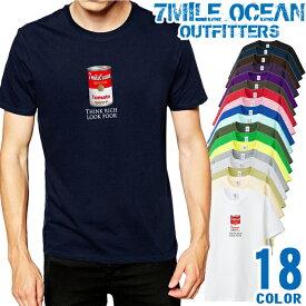 7MILE OCEAN Tシャツ メンズ 半袖 カットソー アメカジ トマト缶 現代美術 キャンベル スープ缶 アンディウォーホル 人気ブランド アウトドア ストリート 大き目 大きいサイズ ビックサイズ対応 18色