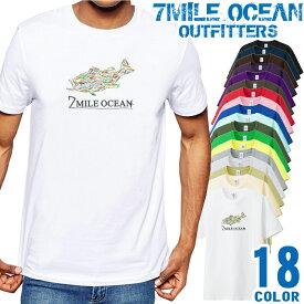 7MILE OCEAN Tシャツ メンズ 半袖 カットソー アメカジ ルアー ブラックバス フィッシング 釣り クラフト 人気ブランド アウトドア ストリート 大き目 大きいサイズ ビックサイズ対応 18色