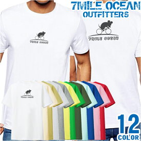 7MILE OCEAN Tシャツ メンズ 半袖 カットソー バックプリント 背面プリント アメカジ ネズミ 自転車 スカル 人気ブランド アウトドア ストリート 大き目 大きいサイズ ビックサイズ対応 12色