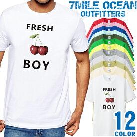 メンズ Tシャツ 半袖 プリント アメカジ 大きいサイズ 7MILE OCEAN チェリーボーイ オモシロ