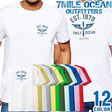 メンズTシャツ半袖バック背面プリントアメカジ大きいサイズ7MILEOCEANロゴワンポイント