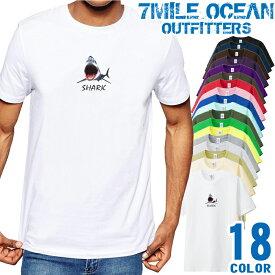 メンズ Tシャツ 半袖 プリント アメカジ 大きいサイズ 7MILE OCEAN サメ シャーク
