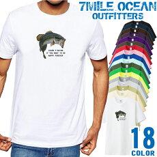 メンズTシャツ半袖プリントアメカジ大きいサイズ7MILEOCEANブラックバス