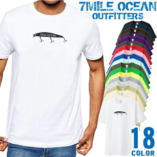 メンズTシャツ半袖プリントアメカジ大きいサイズ7MILEOCEANルアーフィッシング