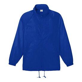 メンズ レディース キッズ ウインドブレーカー ジャケット フードイン 無地 ブルー フリー サイズ 098-FW