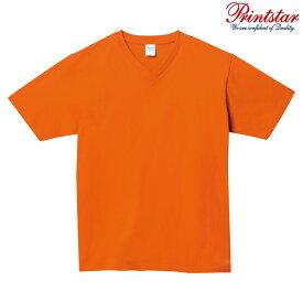 メンズ Tシャツ 半袖 Vネック ヘビーウェイト 5.6オンス 無地 オレンジ S サイズ 108-VCT
