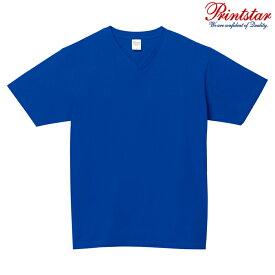 メンズ レディース キッズ Tシャツ 半袖 Vネック ヘビーウェイト 5.6オンス 無地 ロイヤルブルー XS サイズ 108-VCT