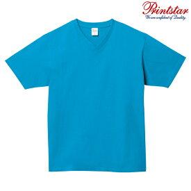 メンズ レディース キッズ Tシャツ 半袖 Vネック ヘビーウェイト 5.6オンス 無地 ターコイズ XS サイズ 108-VCT