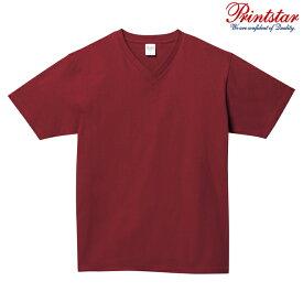 メンズ Tシャツ 半袖 Vネック ヘビーウェイト 5.6オンス 無地 バーガンディ L サイズ 108-VCT
