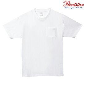 メンズ Tシャツ 半袖 ポケット付き ヘビーウェイト 5.6オンス 無地 ホワイト L サイズ 109-PCT