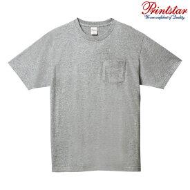 メンズ Tシャツ 半袖 ポケット付き ヘビーウェイト 5.6オンス 無地 杢グレー S サイズ 109-PCT