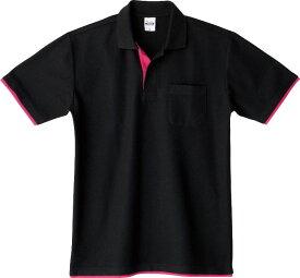 メンズ レディース キッズ ポロシャツ 半袖 鹿の子 レイヤード 5.8オンス 無地 ブラック×ホットピンク SS サイズ 195-BYP