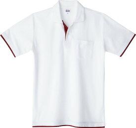 メンズ レディース キッズ ポロシャツ 半袖 鹿の子 レイヤード 5.8オンス 無地 ホワイト×バーガンディー SS サイズ 195-BYP