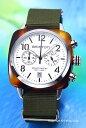 ブリストン BRISTON 腕時計 Clubmaster Chronograph (クラブマスター クロノグラフ) シルバー(トータス)×グリーンア…
