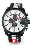 【DIESEL】ディーゼル腕時計MegaChiefChronograph(メガチーフクロノグラフ)シルバー×ブラック/ブラックナイロンストラップDZ4512