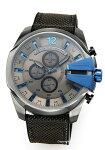 【DIESEL】ディーゼル腕時計MegaChiefChronograph(メガチーフクロノグラフ)グレー×ブルー/ダークグレーナイロンストラップDZ4500