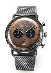 【EMPORIOARMANI】エンポリオ・アルマーニ腕時計Aviator(アビエーター)ガンメタル×ブラウンサンレイAR11141