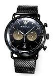 【EMPORIOARMANI】エンポリオ・アルマーニ腕時計Aviator(アビエーター)ブラック×ブラウンサンレイAR11142