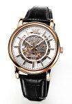 【EMPORIOARMANI】エンポリオ・アルマーニ腕時計LuigiMeccanicoシルバー×ローズゴールド/ブラックレザーストラップAR60007