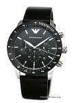 【EMPORIOARMANI】エンポリオアルマーニ腕時計MarioChronograph(マリオクロノグラフ)ブラック/ブラックレザーストラップAR11243