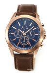 【ArmaniExchange】アルマーニエクスチェンジ腕時計Drexler(ドレクスラー)ネイビー×ローズゴールド/ブラウンレザーストラップAX2626