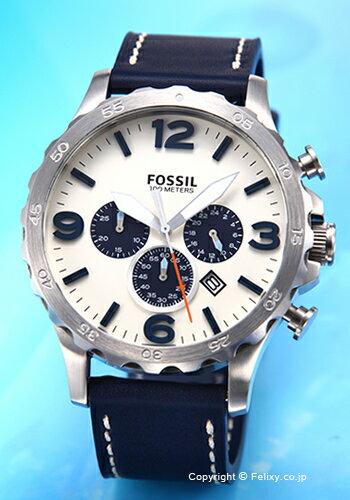 フォッシル FOSSIL 腕時計 NATE (ネイト) オフホワイト(ネイビー)/ネイビーレザーストラップ JR1480