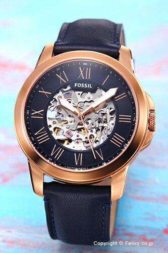 フォッシル FOSSIL 腕時計 Grant Automatic ネイビー×ローズゴールド ME3102 【あす楽】