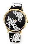 【KATESPADE】ケイトスペード腕時計MetroFloral(メトロフローラル)ブラック×ホワイト/レザーストラップレディスKSW1498