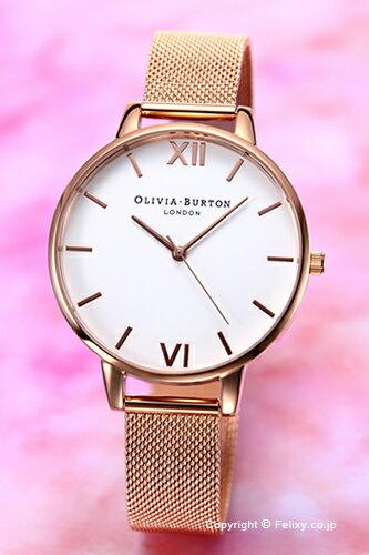 オリビアバートン OLIVIA BURTON 腕時計 BIG DIAL WHITE DIAL & ROSE GOLD MESH OB15BD79 【あす楽】