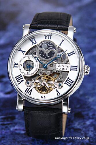 SONNE ゾンネ 腕時計 SONNE×HAORI Produced KOICHI IWAKI (ゾンネ×ハオリ 岩城滉一 コラボレーションモデル) ホワイト×シルバー/ブラックレザーストラップ H013SV