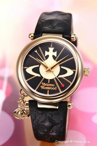 Vivienne Westwood / ヴィヴィアン ウエストウッド 腕時計 レディース Orb II (オーブ2) ブラック×ゴールド/ブラックレザーストラップ VV006BKGD 【あす楽】