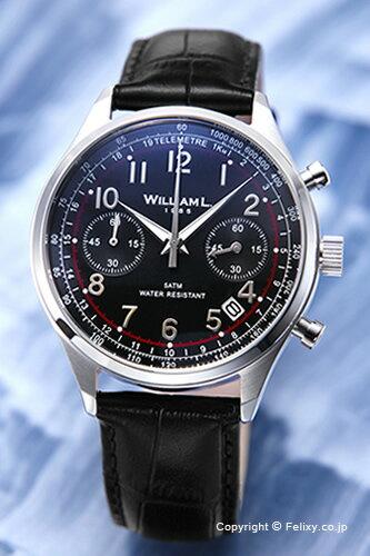 WILLIAM L. ウィリアムエル 腕時計 Vintage Style Chronograph ブラック WLAC01NRCN 【あす楽】