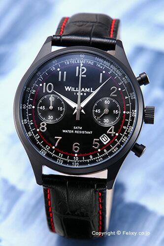 WILLIAM L. ウィリアムエル 腕時計 Vintage Style Chronograph オールブラック WLIB01NRCNSR 【あす楽】