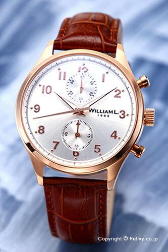 WILLIAM L. ウィリアムエル 腕時計 Vintage Style Chronograph シルバー×ローズゴールド WLOR02GOCM 【あす楽】