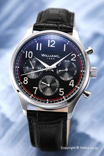 WILLIAM L. ウィリアムエル 腕時計 Vintage Style Calendar ブラック WLAC03NRCN 【あす楽】