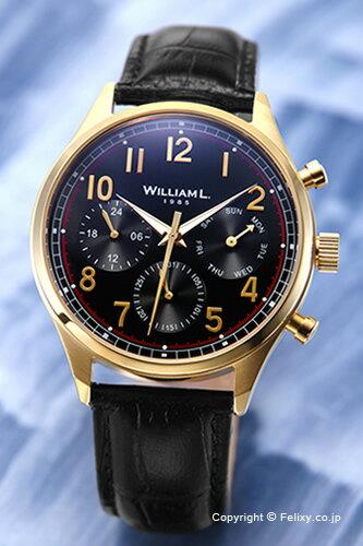 WILLIAM L. ウィリアムエル 腕時計 Vintage Style Calendar ブラック×ゴールド WLOJ03NROJCN 【あす楽】