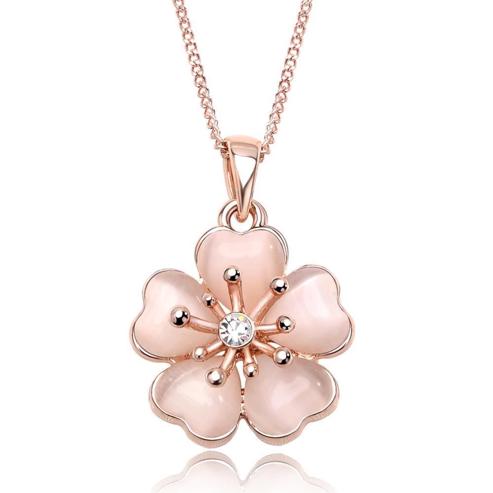 IUHA 淡いピンク桜ネックレス さくら 櫻 18Kピンクゴールドメッキ