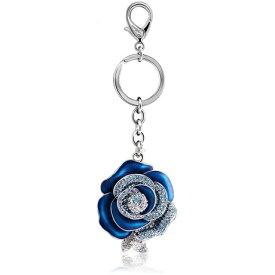 自社ブランドIUHA 彼女に最適!バレンタイン 青いバラ「ブルーローズ」 バッグチャーム スワロフスキー石を使用 ストラップ キーリングアクセサリー ギフト