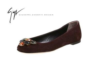 35 # 鞋类意大利朱塞佩 · 扎-斜戴 swaroskiju 珠宝与麂皮绒芭蕾舞鞋 ★ 棕色维克